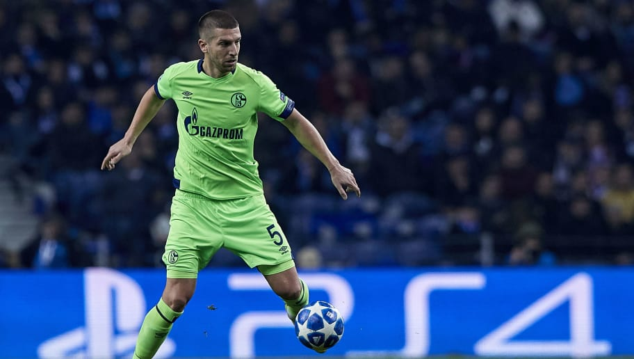PORTO, PORTUGAL - NOVEMBER 28:  Matija Nastasic of Schalke 04 in action during the Group D match of the UEFA Champions League between FC Porto and FC Schalke 04 at Estadio do Dragao on November 28, 2018 in Porto, Portugal.  (Photo by Quality Sport Images/Getty Images)