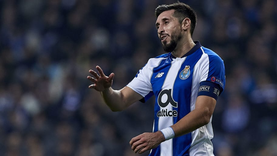 PORTO, PORTUGAL - NOVEMBER 28:  Hector Herrera of FC Porto reacts during the Group D match of the UEFA Champions League between FC Porto and FC Schalke 04 at Estadio do Dragao on November 28, 2018 in Porto, Portugal.  (Photo by Quality Sport Images/Getty Images)