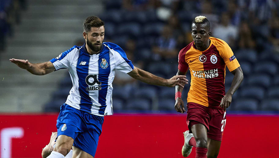 PORTO, PORTUGAL - OCTOBER 03:  Felipe Augusto de Almeida of FC Porto is challenged by Henry Onyekuru of Galatasaray during the Group D match of the UEFA Champions League between FC Porto and Galatasaray at Estadio do Dragao on October 3, 2018 in Porto, Portugal.  (Photo by Quality Sport Images/Getty Images)