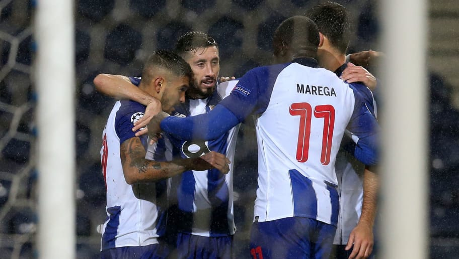 PORTO, PORTUGAL - NOVEMBER 6:  Jesus Corona of FC Porto celebrates with teammates after scoring a goal during the UEFA Champions League Group D match between FC Porto and Lokomotiv Moscow at Estadio do Dragao on November 6, 2018 in Porto, Portugal.  (Photo by Gualter Fatia/Getty Images)