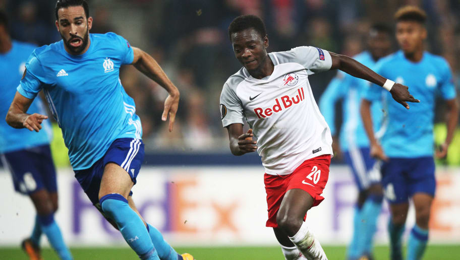 SALZBURG, AUSTRIA - SEPTEMBER 28:  David Atanga of Red Bull Salzburg in action during the UEFA Europa League group I match between RB Salzburg and Olympique Marseille at Red Bull Arena on September 28, 2017 in Salzburg, Austria.  (Photo by Adam Pretty/Bongarts/Getty Images)
