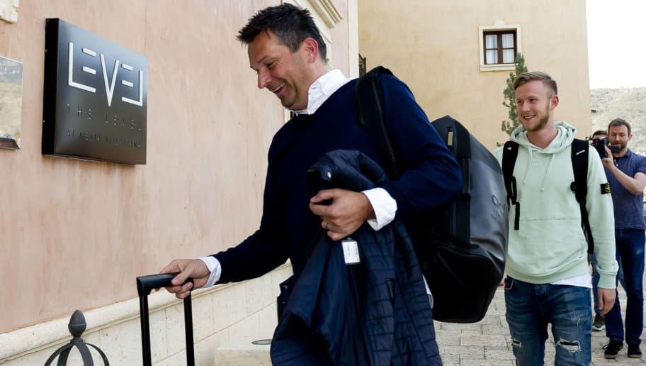 BENIDORM, SPAIN - JANUARY 03: Christian Heidel of Schalke and Cedric Teuchert of Schalke arrive for the FC Schalke 04 training camp at Hotel Melia Villaitana on January 03, 2018 in Benidorm, Spain. (Photo by TF-Images/TF-Images via Getty Images)