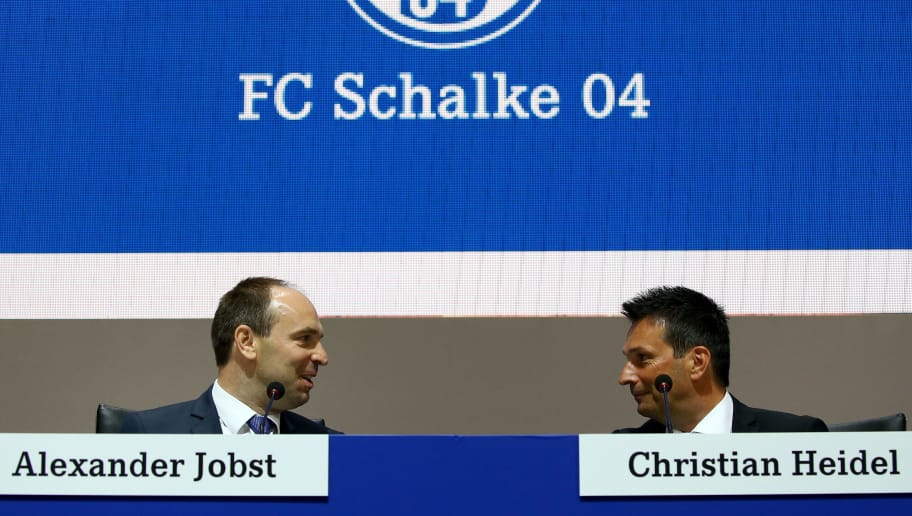GELSENKIRCHEN, GERMANY - JUNE 26: (L-R) Alexander Jobst,member of the board and manager Christian Heidel attend the FC Schalke 04 general assembly at Veltins Arena on June 26, 2016 in Gelsenkirchen, Germany.  (Photo by Christof Koepsel/Bongarts/Getty Images)