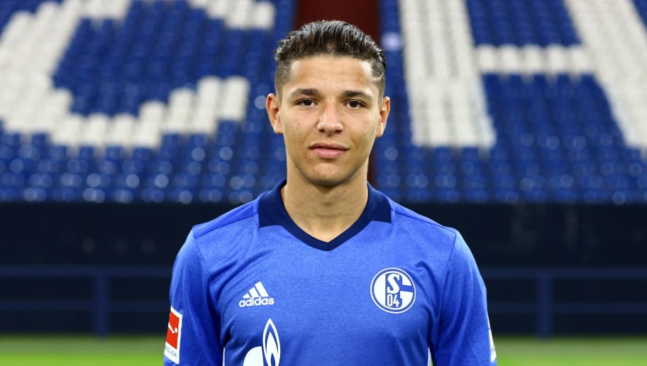 GELSENKIRCHEN, GERMANY - JULY 12:  Amine Harit of FC Schalke 04 poses during the team presentation at Veltins Arena on July 12, 2017 in Gelsenkirchen, Germany.  (Photo by Christof Koepsel/Bongarts/Getty Images)