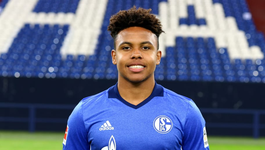 GELSENKIRCHEN, GERMANY - JULY 12:  Westcon McKennie of FC Schalke 04 poses during the team presentation at Veltins Arena on July 12, 2017 in Gelsenkirchen, Germany.  (Photo by Christof Koepsel/Bongarts/Getty Images)