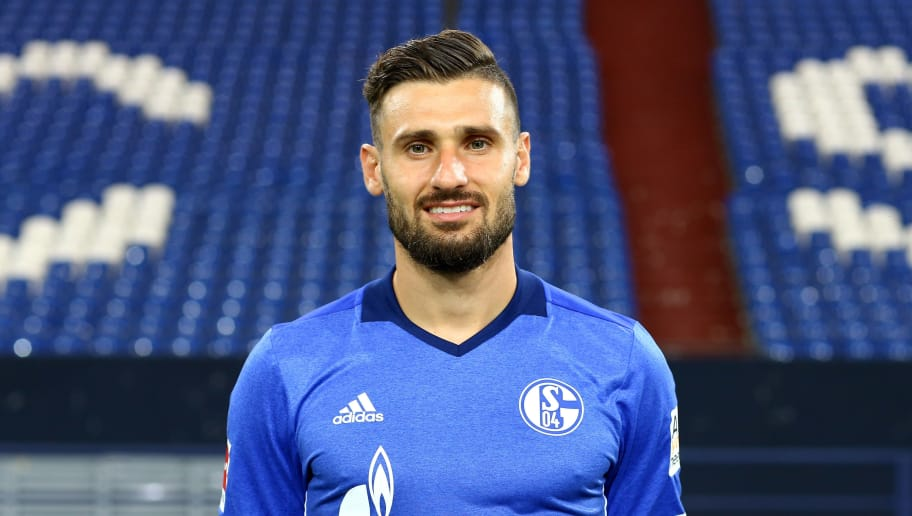 GELSENKIRCHEN, GERMANY - JULY 12:  Daniel Caligiuri of FC Schalke 04 poses during the team presentation at Veltins Arena on July 12, 2017 in Gelsenkirchen, Germany.  (Photo by Christof Koepsel/Bongarts/Getty Images)
