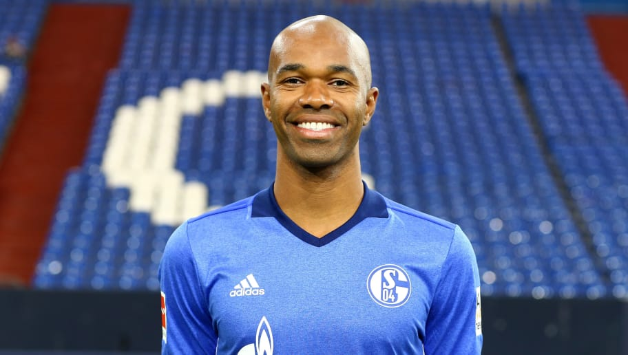 GELSENKIRCHEN, GERMANY - JULY 12:  Naldo of FC Schalke 04 poses during the team presentation at Veltins Arena on July 12, 2017 in Gelsenkirchen, Germany.  (Photo by Christof Koepsel/Bongarts/Getty Images)