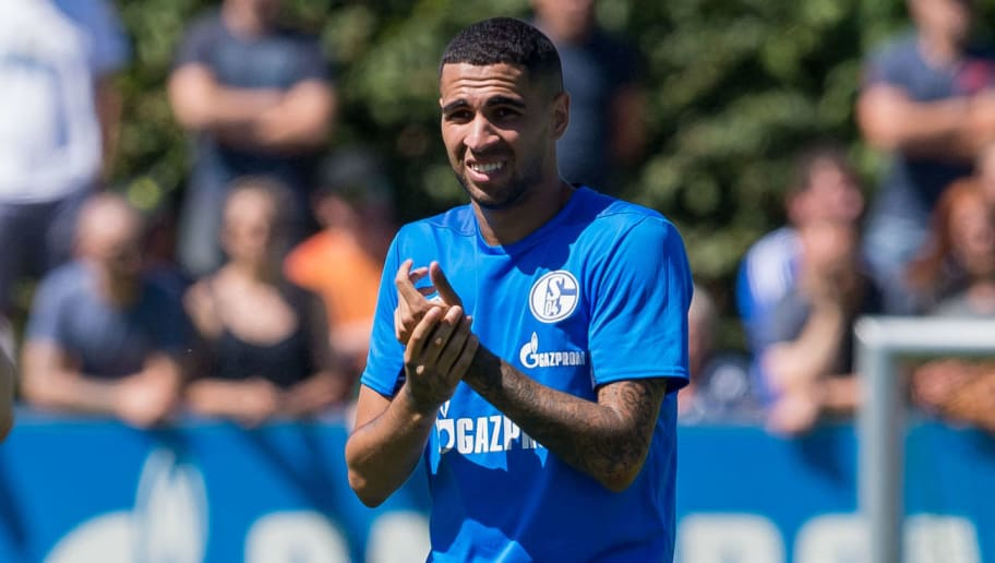 GELSENKIRCHEN, GERMANY - JULY 01: Mascarell of Schalke gestures during the FC Schalke 04 team presentation on July 1, 2018 in Gelsenkirchen, Germany. (Photo by TF-Images/Getty Images)