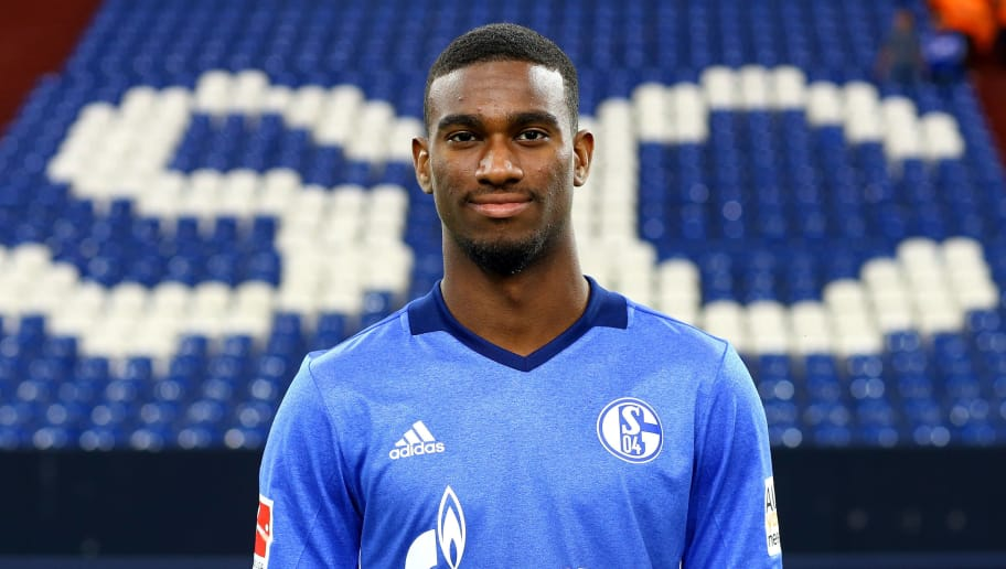 GELSENKIRCHEN, GERMANY - JULY 12:  Haji Wright of FC Schalke 04 poses during the team presentation at Veltins Arena on July 12, 2017 in Gelsenkirchen, Germany.  (Photo by Christof Koepsel/Bongarts/Getty Images)