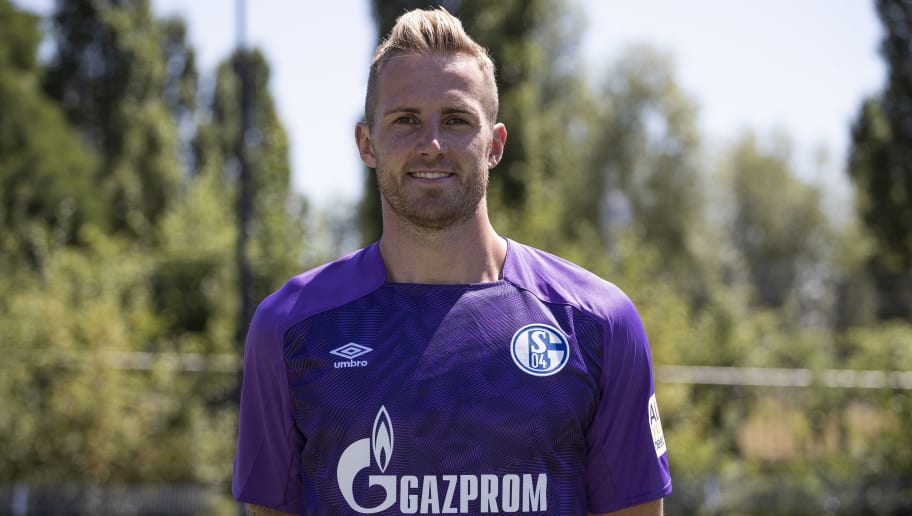 GELSENKIRCHEN, GERMANY - JULY 16: Ralf Fährmann of FC Schalke 04 poses during the team presentation at Veltins Arena on July 16, 2018 in Gelsenkirchen, Germany. (Photo by Christof Koepsel/Bongarts/Getty Images)