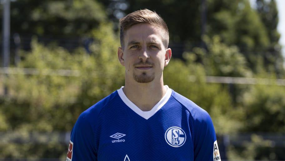 GELSENKIRCHEN, GERMANY - JULY 16: Bastian Oczipka of FC Schalke 04 poses during the team presentation at Veltins Arena on July 16, 2018 in Gelsenkirchen, Germany. (Photo by Christof Koepsel/Bongarts/Getty Images)
