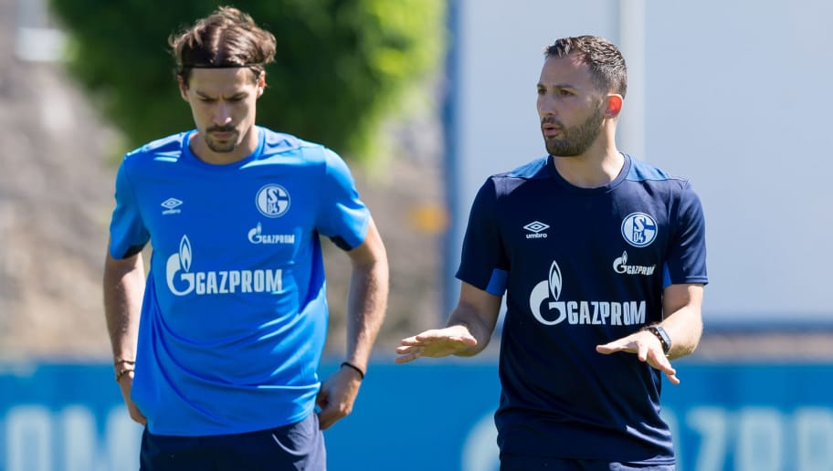 GELSENKIRCHEN, GERMANY - JULY 02: Benjamin Stambouli of Schalke and Head coach Domenico Tedesco of Schalke gesture during a training session at the FC Schalke 04 Training center on July 2, 2018 in Gelsenkirchen, Germany. (Photo by TF-Images/Getty Images)