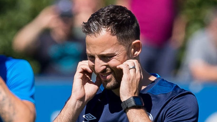 GELSENKIRCHEN, GERMANY - JULY 02: Head coach Domenico Tedesco of Schalke gestures during a training session at the FC Schalke 04 Training center on July 2, 2018 in Gelsenkirchen, Germany. (Photo by TF-Images/Getty Images)