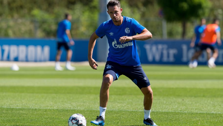GELSENKIRCHEN, GERMANY - JULY 02: Mark Uth of Schalke controls the ball during a training session at the FC Schalke 04 Training center on July 2, 2018 in Gelsenkirchen, Germany. (Photo by TF-Images/Getty Images)