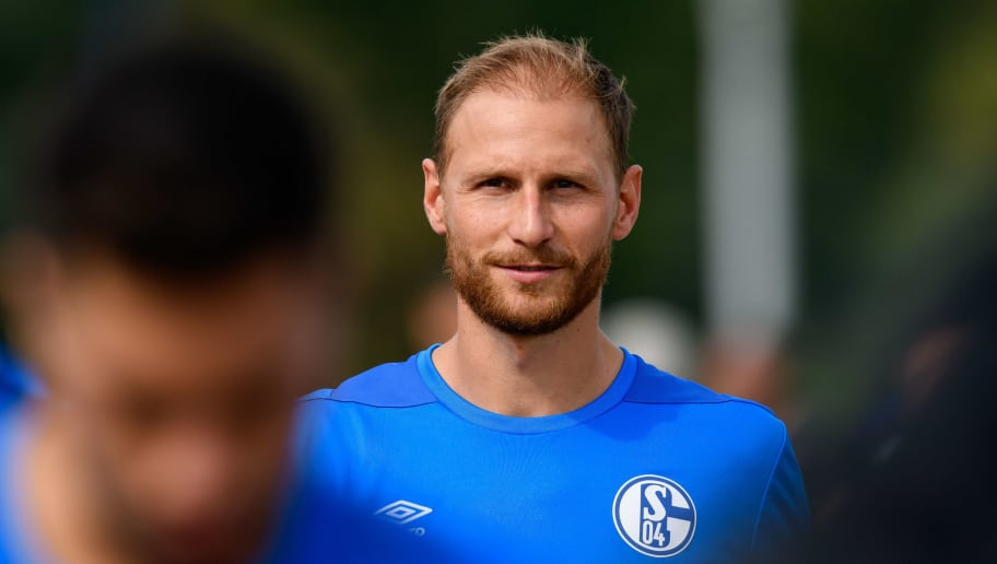 GELSENKIRCHEN, GERMANY - JULY 19: Benedikt Hoewedes of Schalke looks on  during a training session at the FC Schalke 04 Training center on July 19, 2018 in Gelsenkirchen, Germany. (Photo by TF-Images/Getty Images)