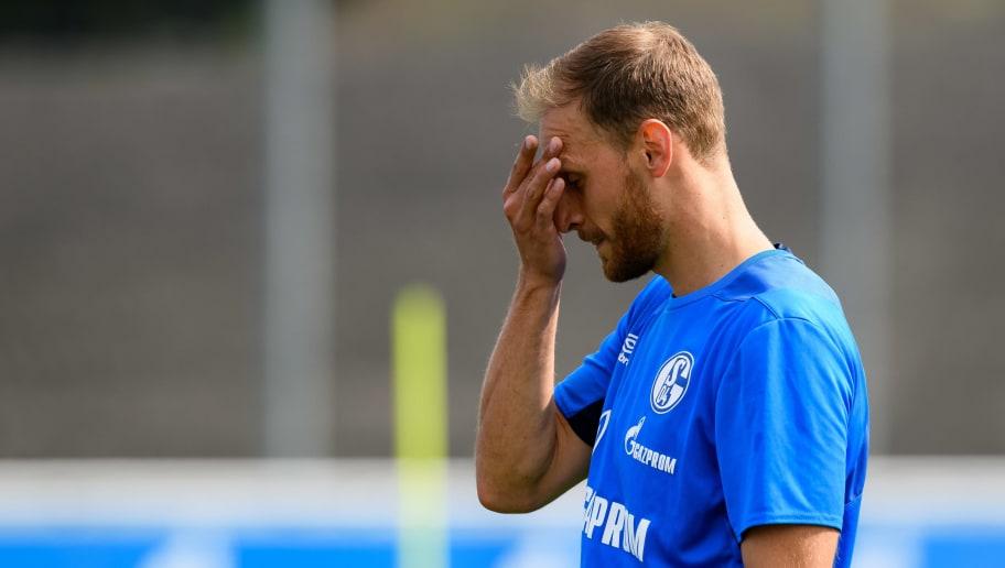 GELSENKIRCHEN, GERMANY - JULY 20:  Benedikt Hoewedes of Schalke looks on  during a training session at the FC Schalke 04 Training center on July 20, 2018 in Gelsenkirchen, Germany. (Photo by TF-Images/Getty Images)