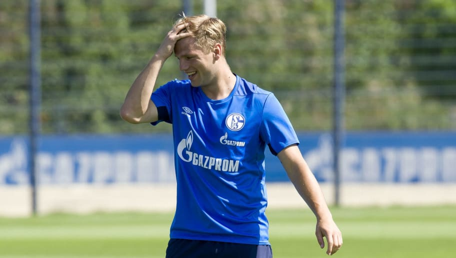GELSENKIRCHEN, GERMANY - JULY 18: Johannes Geis of Schalke looks on during a training session at the FC Schalke 04 Training center on July 18, 2018 in Gelsenkirchen, Germany. (Photo by TF-Images/Getty Images)