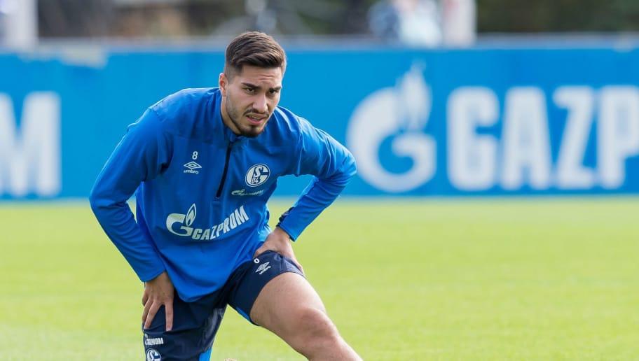 GELSENKIRCHEN, GERMANY - AUGUST 28: Suat Serdar of Schalke looks on during the FC Schalke 04 training session on August 28, 2018 in Gelsenkirchen, Germany. (Photo by TF-Images/Getty Images)