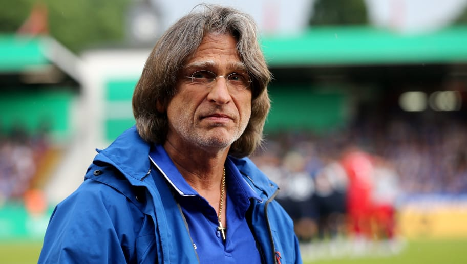 OBERHAUSEN, GERMANY - MAY 27: Head coach Norbert Elgert of Schalke is seen prior to the German A Juniors Championship Final between FC Schalke 04 U19 and Hertha BSC Berlin U19 at Stadion Niederrhein on May 27, 2018 in Oberhausen, Germany. (Photo by Christof Koepsel/Bongarts/Getty Images)