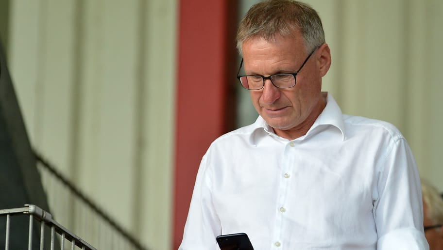 OBERHAUSEN, GERMANY - MAY 27: Michael Reschke of Stuttgart looks on prior to the German A Juniors Championship final match between FC Schalke 04 U19 and Hertha BSC U19 at Stadion Niederrhein on May 27, 2018 in Oberhausen, Germany. (Photo by TF-Images/Getty Images)