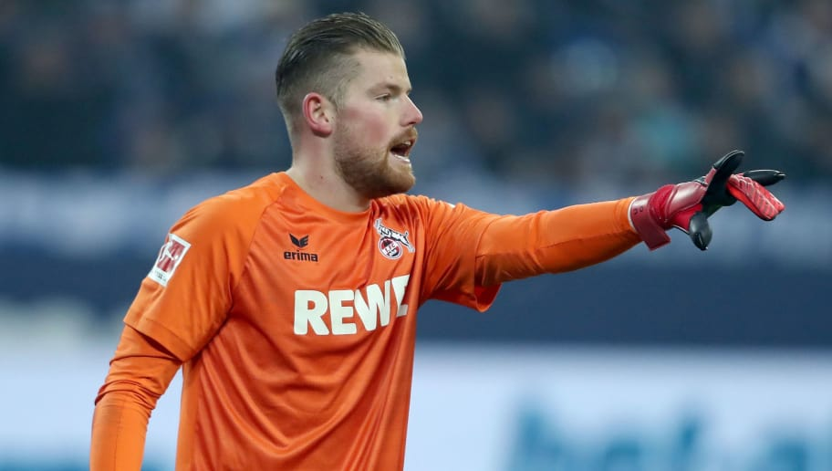 GELSENKIRCHEN, GERMANY - DECEMBER 02:  Timo Horn of Koeln issues instructions during the Bundesliga match between FC Schalke 04 and 1. FC Koeln at Veltins-Arena on December 2, 2017 in Gelsenkirchen, Germany.  (Photo by Christof Koepsel/Bongarts/Getty Images)