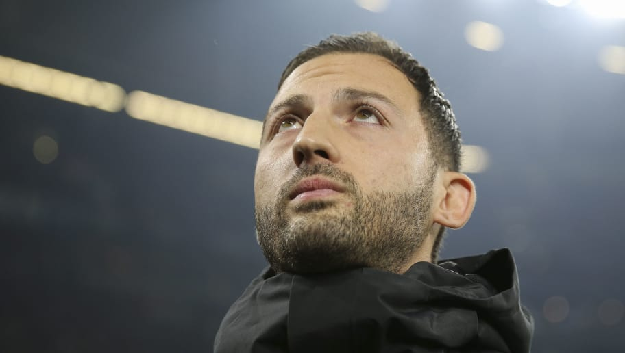 GELSENKIRCHEN, GERMANY - NOVEMBER 24: Domenico Tedesco, Head Coach of FC Schalke 04 looks on prior to the Bundesliga match between FC Schalke 04 and 1. FC Nuernberg at Veltins-Arena on November 24, 2018 in Gelsenkirchen, Germany.  (Photo by Maja Hitij/Bongarts/Getty Images)