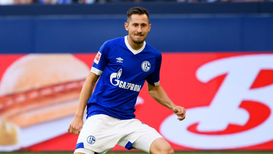 GELSENKIRCHEN, GERMANY - AUGUST 11: Steven Skrzybski of Schalke scores the team`s second goal during the friendly match between FC Schalke 04 and AFC Fiorentina at Veltins Arena on August 11, 2018 in Gelsenkirchen, Germany. (Photo by TF-Images/Getty Images)
