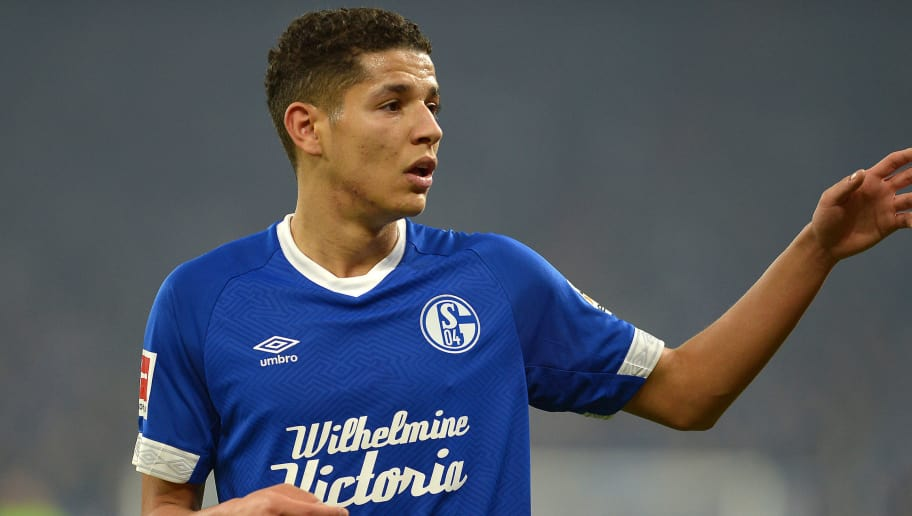 GELSENKIRCHEN, GERMANY - DECEMBER 19: Amine Harit of FC Schalke 04 gestures during the Bundesliga match between FC Schalke 04 and Bayer 04 Leverkusen at Veltins-Arena on December 19, 2018 in Gelsenkirchen, Germany. (Photo by TF-Images/TF-Images via Getty Images)