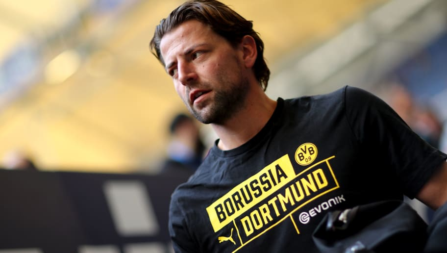 GELSENKIRCHEN, GERMANY - APRIL 15: Roman Wiedenfeller of Dortmund looks on prior to the Bundesliga match between FC Schalke 04 and Borussia Dortmund at Veltins-Arena on April 15, 2018 in Gelsenkirchen, Germany. The match between Schalke and Dortmund ended 2-0 (Photo by Christof Koepsel/Bongarts/Getty Images)