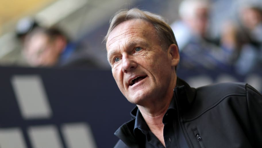 GELSENKIRCHEN, GERMANY - APRIL 15: Hans-Joachim Watzke, chairman of Dortmund arrives prior to  the Bundesliga match between FC Schalke 04 and Borussia Dortmund at Veltins-Arena on April 15, 2018 in Gelsenkirchen, Germany. (Photo by Christof Koepsel/Bongarts/Getty Images)