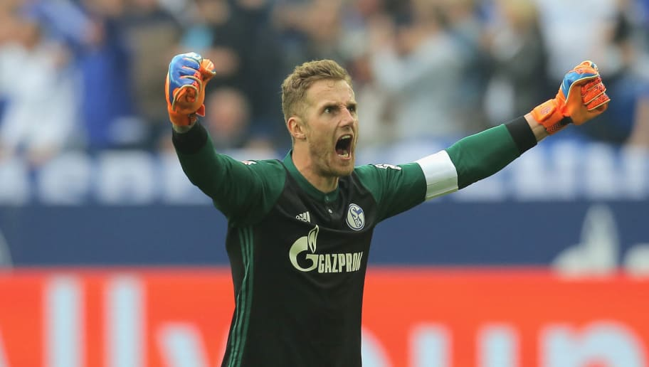 GELSENKIRCHEN, GERMANY - APRIL 15: Goalkeeper Ralf Faehrmann of Schalke celebrates after Naldo of Schalke scored their team`s second goal during the Bundesliga match between FC Schalke 04 and Borussia Dortmund at Veltins-Arena on April 15, 2018 in Gelsenkirchen, Germany. (Photo by TF-Images/Getty Images)