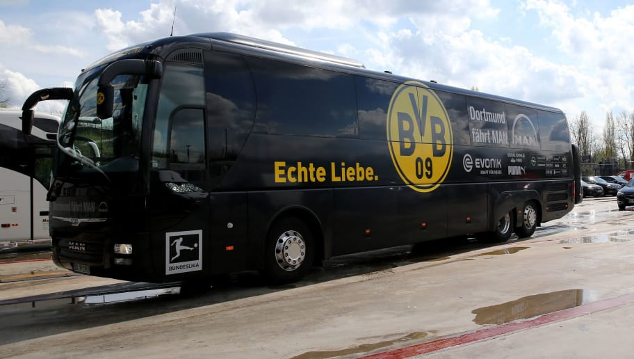 GELSENKIRCHEN, GERMANY - APRIL 15: The bus of Dortmund arrives prior to the Bundesliga match between FC Schalke 04 and Borussia Dortmund at Veltins-Arena on April 15, 2018 in Gelsenkirchen, Germany. (Photo by Christof Koepsel/Bongarts/Getty Images)