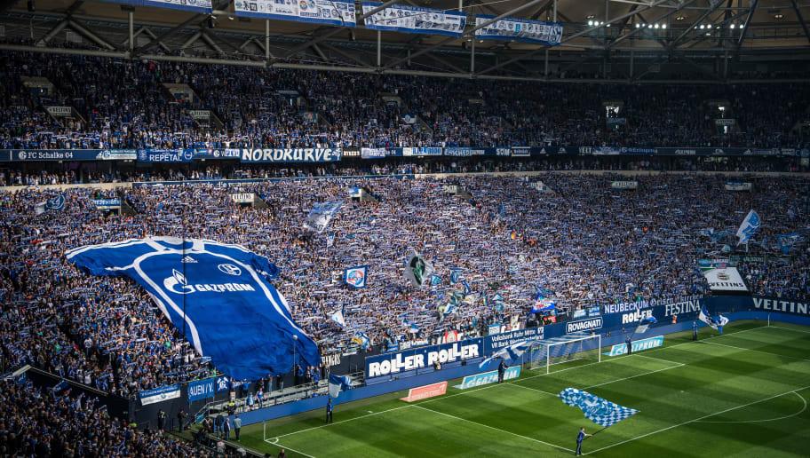 GELSENKIRCHEN, GERMANY - APRIL 01: General view of the stadium prior to the Bundesliga match between FC Schalke 04 and Borussia Dortmund at Veltins-Arena on April 1, 2017 in Gelsenkirchen, Germany. (Photo by Lukas Schulze/Bongarts/Getty Images)