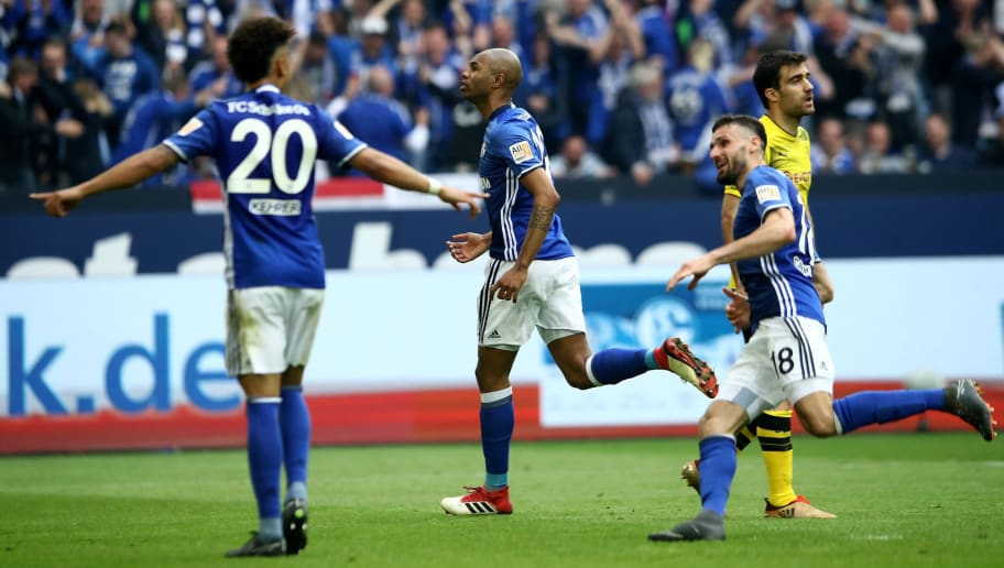 GELSENKIRCHEN, GERMANY - APRIL 15:  Naldo of Schalke celebrates after he scores the 2nd goal by free kick during the Bundesliga match between FC Schalke 04 and Borussia Dortmund at Veltins-Arena on April 15, 2018 in Gelsenkirchen, Germany.  (Photo by Alex Grimm/Bongarts/Getty Images)