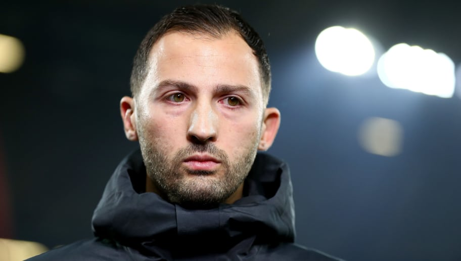 GELSENKIRCHEN, GERMANY - DECEMBER 08:  Domenico Tedesco, Manager of FC Schalke 04 looks on prior to the Bundesliga match between FC Schalke 04 and Borussia Dortmund at Veltins-Arena on December 8, 2018 in Gelsenkirchen, Germany.  (Photo by Lars Baron/Bongarts/Getty Images)