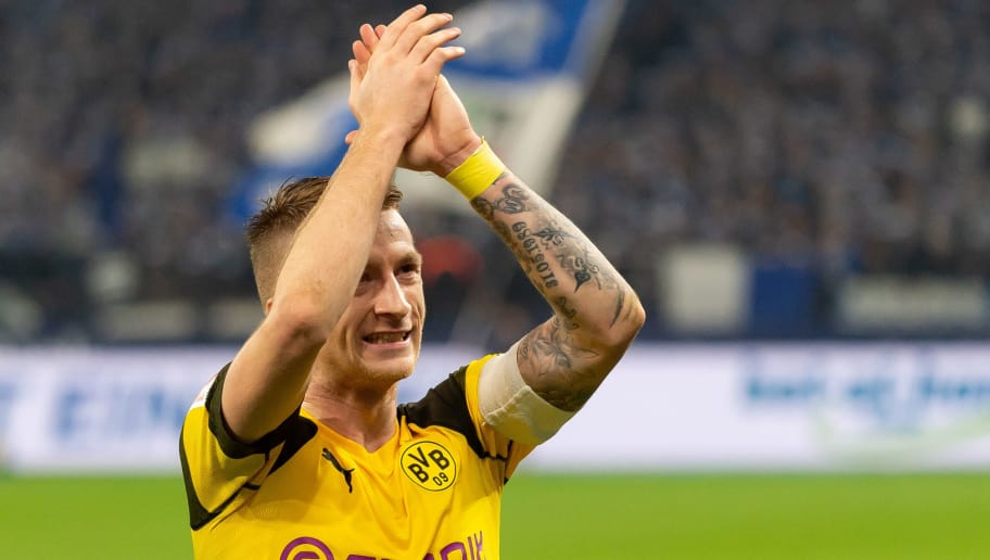 GELSENKIRCHEN, GERMANY - DECEMBER 08: Marco Reus of Dortmund looks on during the Bundesliga match between FC Schalke 04 and Borussia Dortmund at the Veltins Arena on December 08, 2018 in Dortmund, Germany. (Photo by TF-Images/TF-Images via Getty Images)