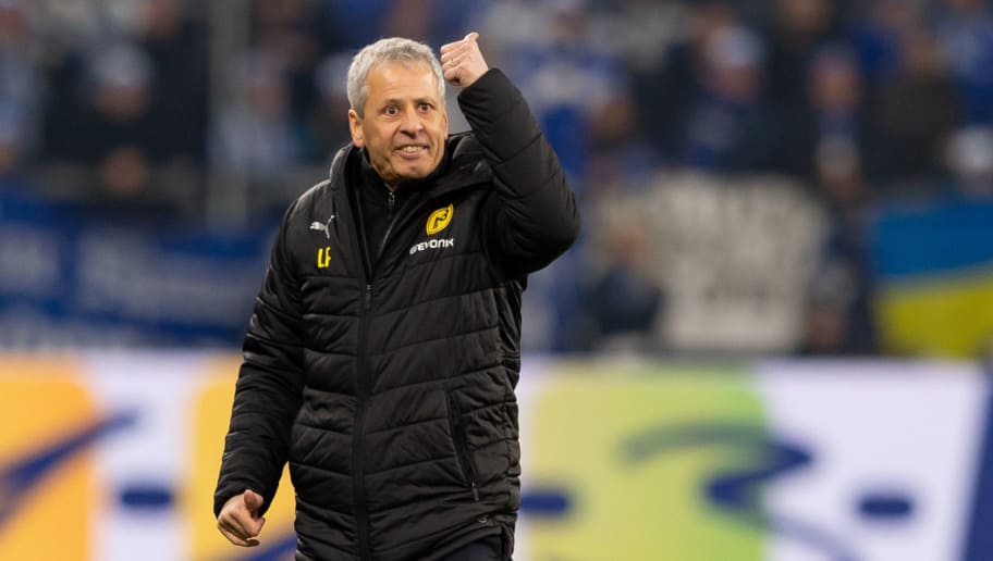GELSENKIRCHEN, GERMANY - DECEMBER 08: Head coach Lucien Favre of Dortmund gestures during the Bundesliga match between FC Schalke 04 and Borussia Dortmund at the Veltins Arena on December 08, 2018 in Dortmund, Germany. (Photo by TF-Images/TF-Images via Getty Images)