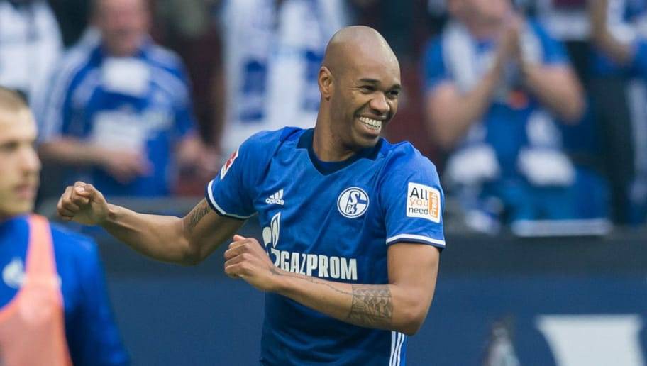 GELSENKIRCHEN, GERMANY - APRIL 15: Naldo of Schalke celebrates after scoring his team`s second goal during the Bundesliga match between FC Schalke 04 and Borussia Dortmund at Veltins-Arena on April 15, 2018 in Gelsenkirchen, Germany. (Photo by TF-Images/Getty Images)