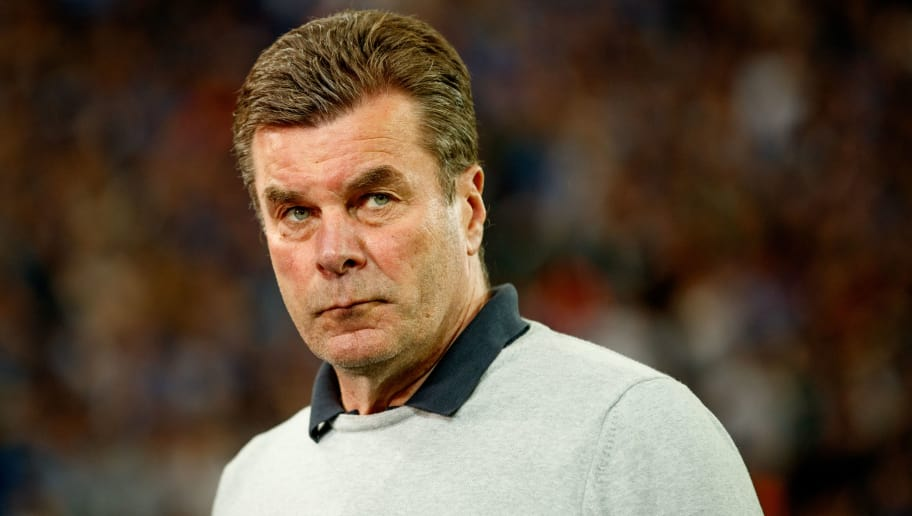 GELSENKIRCHEN, GERMANY - APRIL 28:  Head coach Dieter Hecking of Moenchengladbach is seen during the Bundesliga match between FC Schalke 04 and Borussia Moenchengladbach at Veltins-Arena on April 28, 2018 in Gelsenkirchen, Germany.  (Photo by Lars Baron/Bongarts/Getty Images)