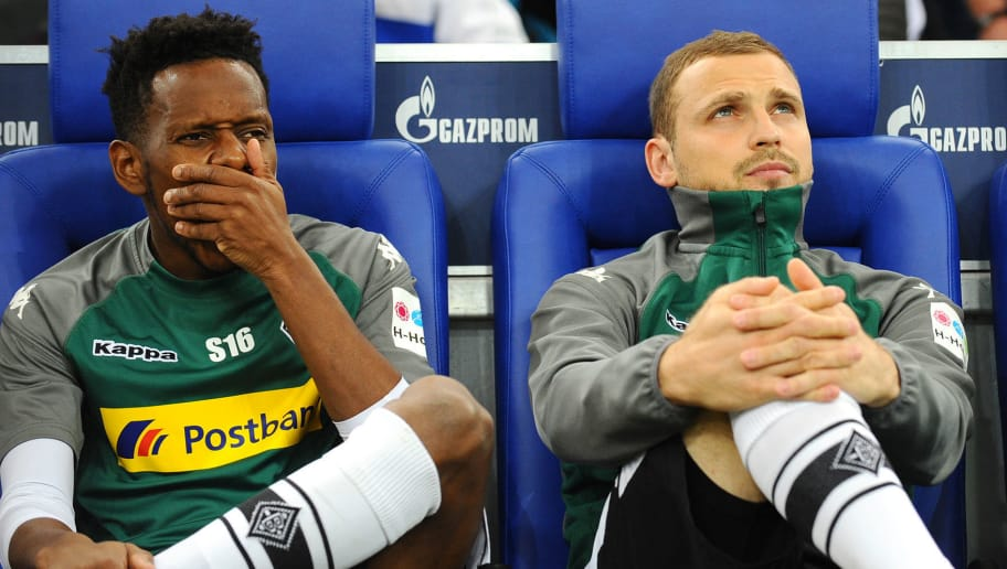 GELSENKIRCHEN, GERMANY - APRIL 28: Ibrahima Traore of Moenchengladbach and Tony Jantschke of Moenchengladbach looks on prior to the Bundesliga match between FC Schalke 04 and Borussia Moenchengladbach at Veltins-Arena on April 28, 2018 in Gelsenkirchen, Germany. (Photo by TF-Images/Getty Images)