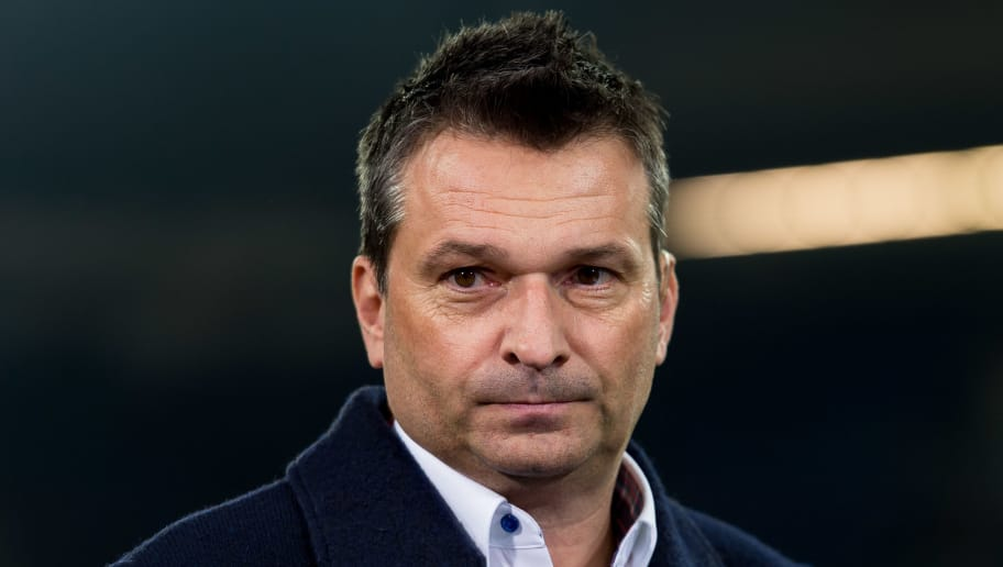 GELSENKIRCHEN, GERMANY - MARCH 09: Manager Christian Heidel of Schalke , looks on during the UEFA Europa League Round of 16 first leg match between FC Schalke 04 and Borussia Moenchengladbach at Veltins-Arena on March 9, 2017 in Gelsenkirchen, Germany. (Photo by TF-Images/Getty Images)
