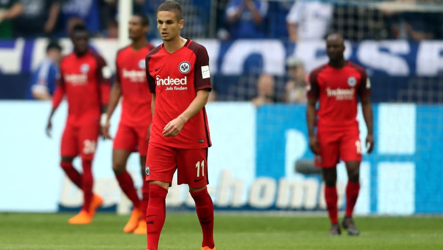 GELSENKIRCHEN, GERMANY - MAY 12: Mijat Gacinovic of Frankfurt looks dejected after the first goal of Schalke during the Bundesliga match between FC Schalke 04 and Eintracht Frankfurt at Veltins-Arena on May 12, 2018 in Gelsenkirchen, Germany. (Photo by Christof Koepsel/Bongarts/Getty Images)