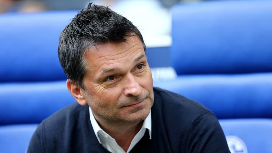 GELSENKIRCHEN, GERMANY - MAY 12: Manager Christian Heidel of Schalke is seen prior to the Bundesliga match between FC Schalke 04 and Eintracht Frankfurt at Veltins-Arena on May 12, 2018 in Gelsenkirchen, Germany. (Photo by Christof Koepsel/Bongarts/Getty Images)