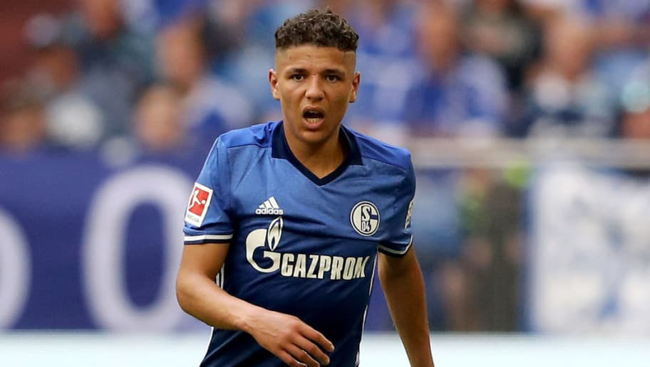 GELSENKIRCHEN, GERMANY - MAY 12: Amine Harit of Schalke got knocked during the Bundesliga match between FC Schalke 04 and Eintracht Frankfurt at Veltins-Arena on May 12, 2018 in Gelsenkirchen, Germany. (Photo by Christof Koepsel/Bongarts/Getty Images)