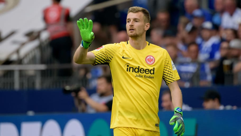 GELSENKIRCHEN, GERMANY - May 12: Goalkeeper Lukas Hradecky of Frankfurt gestures during the Bundesliga match between FC Schalke 04 and Eintracht Frankfurt at Veltins Arena on May 12, 2018 in Gelsenkirchen, Germany. (Photo by TF-Images/Getty Images)