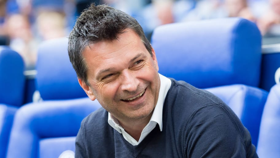 GELSENKIRCHEN, GERMANY - May 12: Manager Christian Heidel of Schalke laughs prior to the Bundesliga match between FC Schalke 04 and Eintracht Frankfurt at Veltins Arena on May 12, 2018 in Gelsenkirchen, Germany. (Photo by TF-Images/Getty Images)