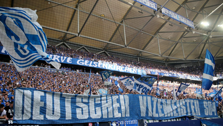 GELSENKIRCHEN, GERMANY - MAY 12: Fans of Schalke show a banner after the Bundesliga match between FC Schalke 04 and Eintracht Frankfurt at Veltins-Arena on May 12, 2018 in Gelsenkirchen, Germany. (Photo by Christof Koepsel/Bongarts/Getty Images)
