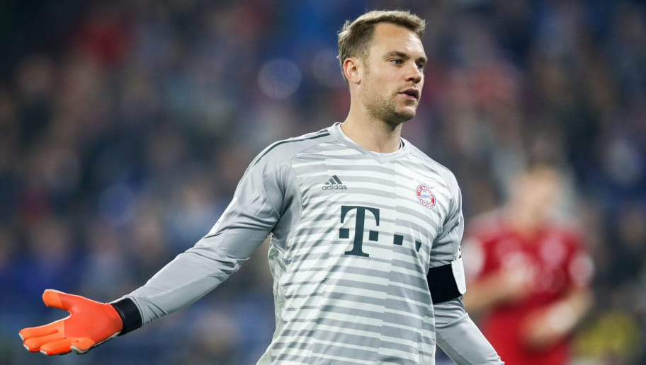GELSENKIRCHEN, GERMANY - SEPTEMBER 22: Manuel Neuer #1 of Bayern Munich reacts during the Bundesliga match between FC Schalke 04 and FC Bayern Muenchen at Veltins-Arena on September 22, 2018 in Gelsenkirchen, Germany. (Photo by Maja Hitij/Bongarts/Getty Images)