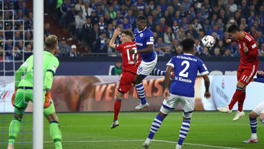 GELSENKIRCHEN, GERMANY - SEPTEMBER 22:  James Rodriguez of Bayern Muenchen scores his team's first goal during the Bundesliga match between FC Schalke 04 and FC Bayern Muenchen at Veltins-Arena on September 22, 2018 in Gelsenkirchen, Germany.  (Photo by Maja Hitij/Bongarts/Getty Images)