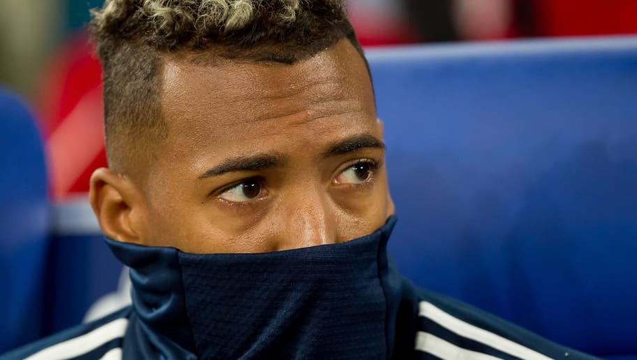 GELSENKIRCHEN, GERMANY - SEPTEMBER 22: Jerome Boateng of Bayern Muenchen looks on prior to the Bundesliga match between FC Schalke 04 and FC Bayern Muenchen at Veltins-Arena on September 22, 2018 in Gelsenkirchen, Germany. (Photo by TF-Images/Getty Images)
